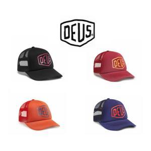 デウスエクスマキナ キャップ Deus Ex Machina Bleached Shield Trucker  beluga /  rumba red / red clay /  estate blue 帽子 ロゴ コットンキャップ ストラッ|ssshop