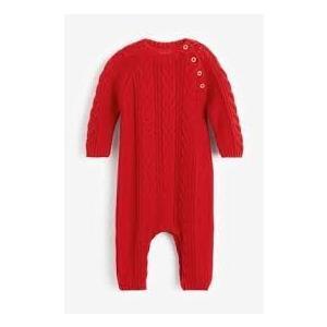 ネクスト ベビー NEXT レッド ケーブルニットロンパース 長袖 ボディスーツ ボタン付き 子供服 ベビー服 パジャマ 男の子 女の子 ユニセックス 新生児 おでかけ|ssshop