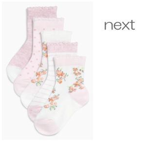 ネクスト ベビー NEXT ピンク フローラル ソックス 5 足パック 無地 総柄 花柄 ドット柄 ストライプ パジャマ 子供服 ベビー服 女の子 新生児 おでかけ [衣類]|ssshop