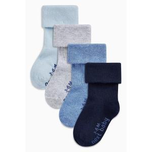 新作 NEXT ネクスト ブルー ソックス 4 足パック 靴下 無地 ロールアップ 子供服 ベビー服 パジャマ 男の子 新生児 0-18ヶ月 ベビーウェア|ssshop