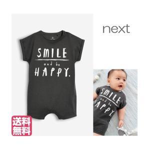 ネクスト ベビー NEXT チャコール Smile And Be Happy 文字入り ロンパース 1枚 半袖 文字入り 子供服 ベビー服 男の子 ユニセックス 新生児|ssshop