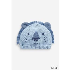 ネクスト ベビー NEXT ブルー ライオン柄 ニット帽 ビーニー 帽子 防寒 ハット 子供服 ベビー服 男の子 女の子 ユニセックス 新生児 ベビーウェア 出産祝い ギフ|ssshop