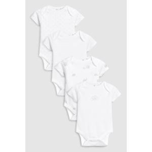 ネクスト ベビー NEXT ホワイト デリケート マルチプリント 半袖ボディスーツ 4枚パック 無地 総柄 ロンパース 子供服 ベビー服 男の子 女の子 ユニセックス 新|ssshop