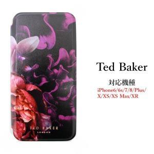 テッドベイカー Ted Baker ミラー付 手帳型 iPhone 6/6s 7 8 Plus X/XS XR XSMax Case アイフォン ケース 二つ折 花柄 NEALAH Splendour Black スプレンダー ブ ssshop