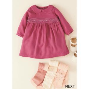 ネクスト ベビー NEXT  ピンク スモックワンピース 刺繍入り 襟付き 長袖 スカート 着せやすい 子供服 ベビー服 女の子 パーティ 新生児 おでかけ[衣類] ssshop