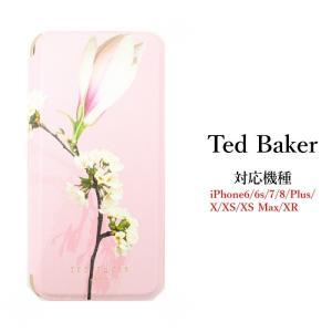 テッドベイカー Ted Baker ミラー付 手帳型 iPhone 6/6s 7 8 Plus X/XS XR XSMax Case アイフォン ケース 二つ折 花柄 Pink ssshop