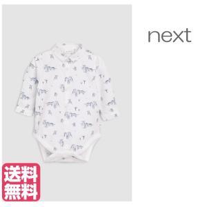 ネクスト ベビー NEXT ホワイト / ブルー タイガー柄プリント シャツボディ 長袖 ボディスーツ ロンパース 子供服 ベビー服 男の子 新生児 ベビーウェア おでか|ssshop