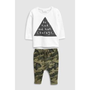 ネクスト ベビー NEXT ベージュ スローガン Tシャツ & 迷彩ジョガーセット 上下セット 半袖 子供服 ベビー服 男の子 新生児 ベビーウエア おでかけ|ssshop