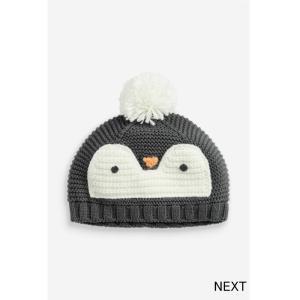 ネクスト ベビー NEXT モノトーン ペンギン キャラクター帽子 ニット帽 ビーニー 帽子 防寒 ...