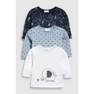 4376952fe6b6b ネクスト ベビー NEXT ネイビー   ホワイト ゾウ Tシャツ 3枚パック 長袖 ベビー服 星柄 男の子 ユニセックス パジャマ 総柄 子供服  新生児 ベビーウェア