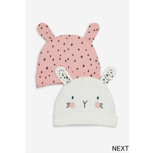 ネクスト ベビー NEXT ピンク モノトーン バニー キャラクター柄 ビーニー帽子 2 枚組 帽子 ハット ベビー服 女の子 新生児 ベビーウェア おでかけ 出産祝い ギ|ssshop
