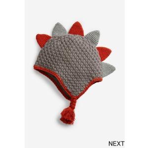 ネクスト ベビー NEXT グレー ニット 恐竜のトゲ 帽子 ビーニー ニット帽 防寒 ハット 子供...