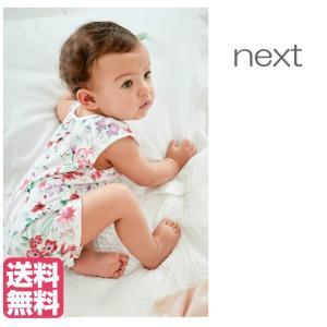 ネクスト ベビー NEXT ピンク / ホワイト 水彩フローラル柄ロンパース オーバーオール ダンガリー 無地 花柄 フローラル ベビー服 女の子 新生児 ベビーウェア ssshop