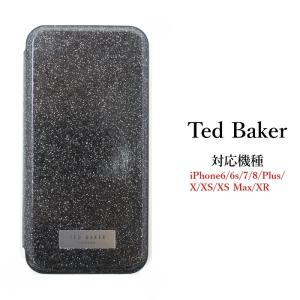 テッドベイカー Ted Baker ミラー付 手帳型 iPhone 6/6s 7 8 Plus X/XS XR XSMax Case アイフォン ケース 携帯 スマホ ケース 二つ折 無地 グリッター Black ブ ssshop