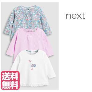6e6984231237b ネクスト ベビー NEXT ライラック   ホワイト アヒル&小花柄 半袖 Tシャツ 3 枚パック 総柄 子供服 ベビー服 女の子 新生児  おでかけ 衣類