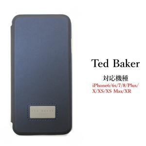 テッドベイカー Ted Baker カードスロット付 手帳型 iPhone 6/6s 7 8 Plus X/XS XR XSMax Case アイフォン ケース 二つ折 無地 Navy ネイビー ssshop