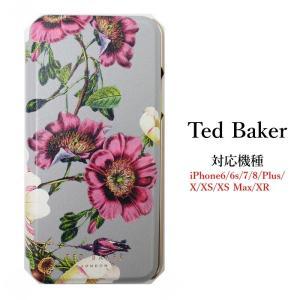 テッドベイカー Ted Baker ミラー付 手帳型 iPhone 6/6s 7 8 Plus X/XS XR XSMax Case アイフォン ケース 二つ折 花柄 ORACLE オラクル ssshop