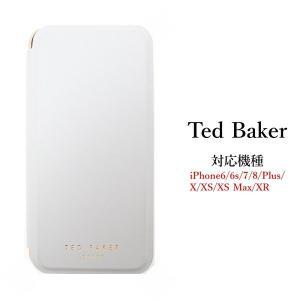 テッドベイカー Ted Baker ミラー付 手帳型 外側カードスロット付 iPhone 6/6s 7 8 Plus X/XS XR XSMax Case アイフォン ケース 二つ折 無地 Grey グレー ssshop