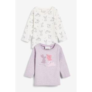 ネクスト ベビー NEXT ライラック エクリュ バニー Tシャツ 2 枚パック 長袖 総柄 子供服 ベビー服 女の子 ユニセックス パジャマ ベビーウェア ギフト おでかけ|ssshop