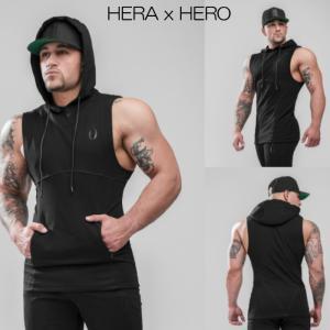 ヘラヒーロー HERA x HERO DLUXX SLEEVELESS HOODIE BLACK ノースリーブパーカー スウェット トレーナー メンズ ジムウェア スポーツウェア 大きいサイズ スポー|ssshop