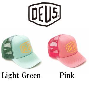 デウスエクスマキナ メッシュ キャップ DeusExMachina SUN BLEACHED TRUCKER Light Green / Pink 帽子 ロゴ 刺繍 スナップバック Deus Ex Machina[帽子]|ssshop