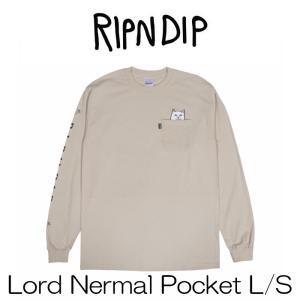 リップンディップ RIPNDIP Lord Nermal Pocket L/S Tan タン Tシャツ 長袖 かわいい ネコ キャット 猫 Rip N Dip スケーター ssshop