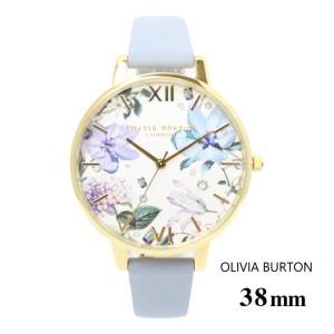 オリビアバートン Olivia Burton レディース 腕時計 38mm オリビアバートン ビジュウェルド フローラル ビック ダイヤル チョーク ブルー & ゴールド 本革 レザ|ssshop