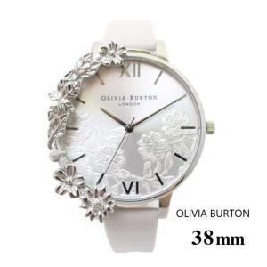 オリビアバートン Olivia Burton レディース 腕時計 38mm オリビアバートン  ケース カフ レース ディテール ブラッシュ & シルバー 本革 レザー ウォッチ クオ|ssshop