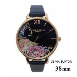 オリビアバートン Olivia Burton レディース 38mm ミッドナイト&ローズゴールド 腕時計 ビッグダイヤル 花柄 本革|ssshop