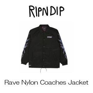 リップンディップ RIPNDIP Rave Nylon Coaches Jacket  Black ブラック  ジャケット コーチジャケット コットン かわいい ネコ キャット 猫 スケーター ssshop