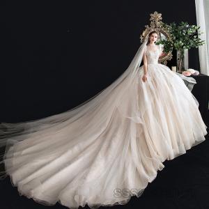 ウェディングドレス 結婚式 花嫁ドレス プリンセスドレス トレーンライン パーティー ブライダル 演奏会 レディース  チュール 発表会 2020新作【sssnetshop】 sssnetshop