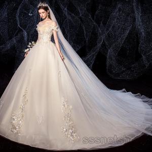 ウェディングドレス 花嫁ドレス 結婚式 ホワイト 白ドレス エンパイアライン トレーンライン プリンセスドレス ロングドレス 2020新作【sssnetshop】 sssnetshop