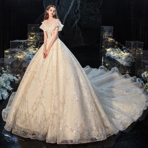 ウェディングドレス 大きいサイズ 花嫁ドレス オフショルダー プリンセスドレス トレーンライン 背中見せ 披露宴 パーティードレス 2020新作【sssnetshop】 sssnetshop