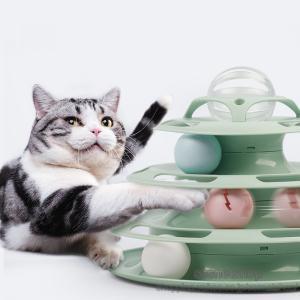 猫 おもちゃ キャットボールタワー 回転盤 ペット用品 ペット ネコ ぐるぐるタワー くるくるボール 運動不足解消 ストレス発散 人気 知育【sssnetshop】|sssnetshop