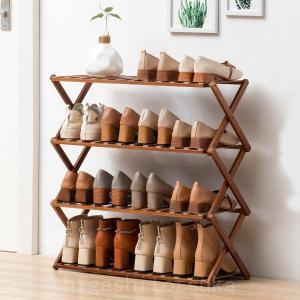 竹製ラックシューズラック 組立不要 折りたたみ 靴棚 4段 靴収納ラック 天然竹製 靴箱  強力な積...