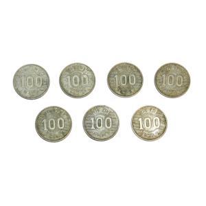 稲100円銀貨 昭和34年〜41年7枚セット 発行年全揃い!銀を1枚あたり約2.88g含有!将来有望! |stamp-coin-ebisu