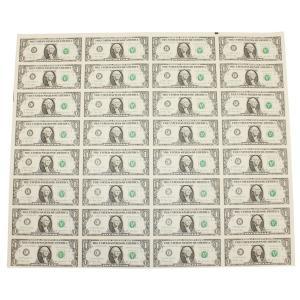 【本物 レア】 アメリカ1ドル紙幣未裁断32面シート(米ドル)|stamp-coin-ebisu