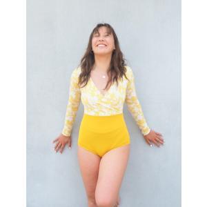 ALAM Yellow Flower サーフィン 日本製 レディース水着 ラッシュガード レトロ ヨガ |standardstore