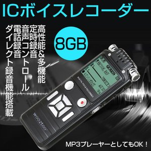 ボイスレコーダー 小型 ICレコーダー 8GB 仕掛け録音 ダイレクト録音機能 録音機 オレオレ詐欺撃退 モラハラ対策・セクハラ対策・パワハラ対策 高音質