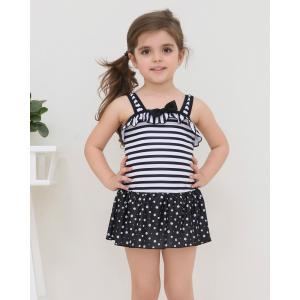 STARABA ワンピース 水着  ガールズ  キッズ  ベビー  かわいい  ボーダー フリル  リボン  モノトーン  女の子  子ども 送料無料|staraba