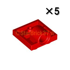 レゴ LEGO パーツ ばら売り プレート2×2(下に軸受け1個):レッド(5個セット)|starbrick37-lego