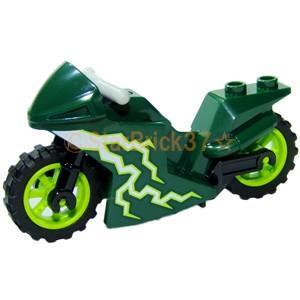 レゴ LEGO バイクパーツ ばら売り モトクロスバイク(白い稲妻のロゴ):ダークグリーン|starbrick37-lego