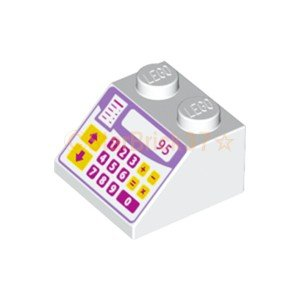 レゴ LEGO パーツ ばら売り プリントスロープ45度2×2(キャッシュレジスター):ホワイト starbrick37-lego