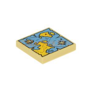 レゴ(LEGO)パーツばら売りのタイル2×2(海賊の宝地図)のタンです。