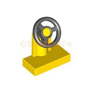 レゴ LEGO 車パーツ ばら売り ハンドル1×2:イエロー|starbrick37-lego
