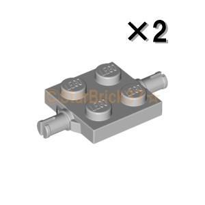 レゴ LEGO 車パーツ ばら売り プレート2×2(両側小径軸ホルダー付):ライトブルーイッシュグレイ(2個セット)|starbrick37-lego
