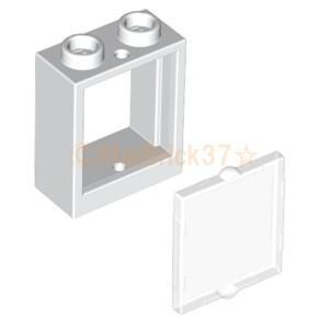 レゴ LEGO パーツ ばら売り 窓枠1×2×2と窓ガラス1×2×2セット:ホワイト×クリア|starbrick37-lego