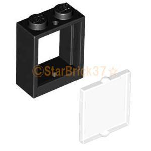 レゴ LEGO パーツ ばら売り 窓枠1×2×2と窓ガラス1×2×2セット:ブラック×クリア|starbrick37-lego