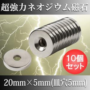 ネオジム磁石 ネオジウム磁石 10個セット 20mm×4mm 皿穴5mm ネジ穴 丸型 超強力 マグ...