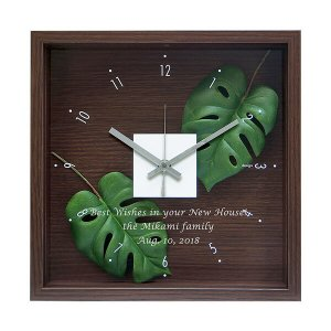 「スタイルクロック モンステラ」ガラスにメッセージが入るオリジナル時計 (代引き不可商品)|starkids